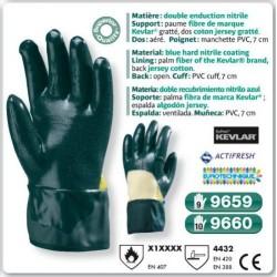 Gants double enduction NITRIL paume fibre KEVLAR dos aéré manche de Sécurité PVC 7 cm