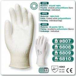 Gants HPPE anticoupure paume enduit polyuréthane blanc