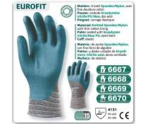Gants EUROFIT tricoté spandex nylon nitrile PU dos aéré