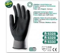 Gants latex nylon gris dos aéré enduit micro mousse latex noir