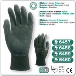 Gants precision LATEX nylon noir enduit latex noir