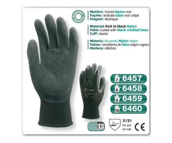 Gants precision latex nylon noir enduit latex noir - Gant latex noir ...