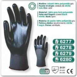 Gants precision Nitrile polyamide gris paume enduit Nitrile gris noir