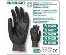 gant EUROLIGHT travail précision PU LATEX tricoté nylon fin enduit polyuréthane noir