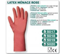 Gant LATEX naturel rose usage ménage