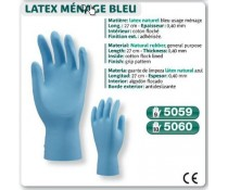 Gant LATEX naturel bleu usage ménage