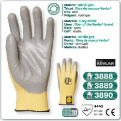 Gant anti coupure KEVLAR nitrile gris