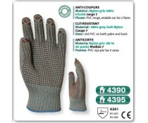 GANT tricoté coton anti coupure nylon gris picots rouge