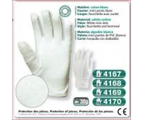 Gant cousus coton blanc coupe fourchette mini picots