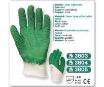 gants manutention lourde LATEX crêpé vert
