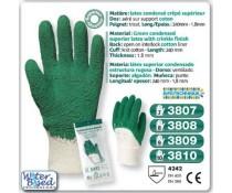 gants manutention lourde LATEX crêpé superieur vert