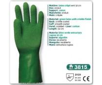 gants manutention lourde LATEX crêpé vert 32 cm