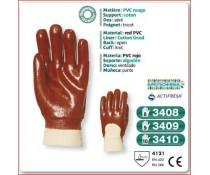Gant PVC SUPERIEUR rouge support coton dos aere poignet tricot