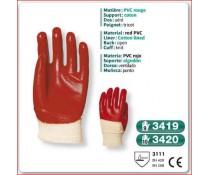 Gant PVC rouge support coton dos aere poignet tricot