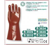 Gant PVC superieur rouge support coton dos aere poignet tricot 27 cm
