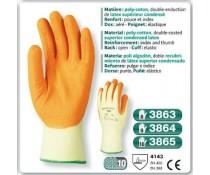 Gant poly coton orange double enduction latex superieur