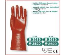 Gant PVC rouge support coton dos aere poignet tricot 27 cm