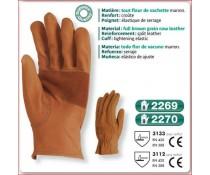 Gant hydrofuge marron poignet elastique