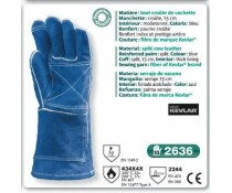 Gant SOUDEUR tout croute de vachette SUPERIEUR bleu manchette 15 cm couture kevlar
