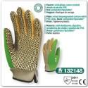 Gant de jardin anti glisse coton enduit vinyle et picots PVC vert