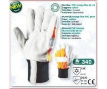 Gant PVC Haute visibilité orange FLUO 30 cm