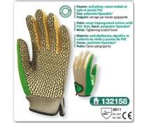 Gant de jardin anti glisse coton enduit vinyle et picots PVC vert serrage grippe