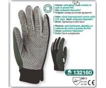 Gant de jardin anti glisse coton enduit vinyle et picots PVC noirs serrage grippe